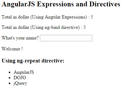 AngularJS expressions and directives