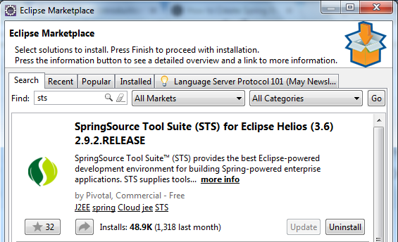 Download STS in Eclipse IDE